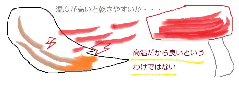 ドライヤーの温度 高温 熱い 火傷 危険性